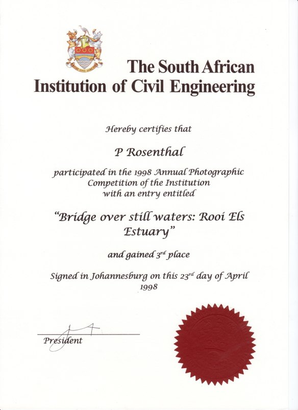 Award for SAICE photographic competition