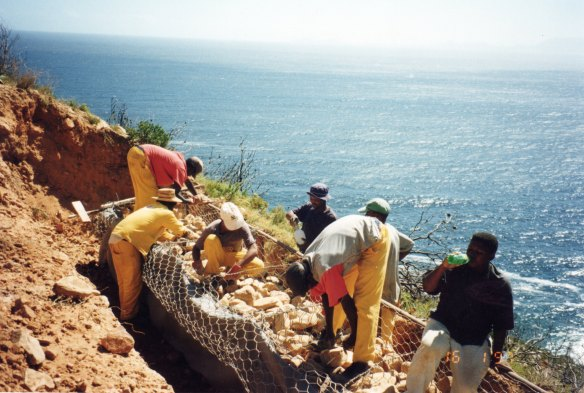 Workers packing gabion baskets on Gordon's Bay to Rooi Els Road upgrading